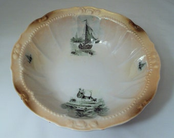 Vintage Porcelain Lustre Rim Serving Bowl Germany Windmill Ships Boats