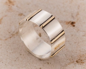 Woman or men wedding Band Ring, Gold and Silver ring, Wide wedding Band silver