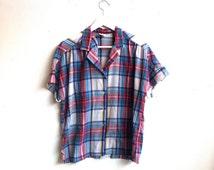 70s blue plaid shirt M / vintage blue short sleeve button down blouse M