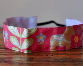 No Slip Headband Dala Horse in Pink Spoonflower fabric