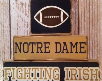 Notre Dame Fighting Irish Football Wood Block Decor