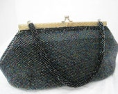 Blue Beaded Purse Iridescent Bead Handbag