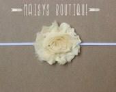 75% Off- Sky Dark Ivory Shabby Flower Headband/ Newborn Headband/ Baby Headband/ Photo Prop
