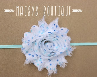 75% Off- Blue Polka Dot Flower Headband/ Newborn Headband/ Baby Headband/ Photo Prop