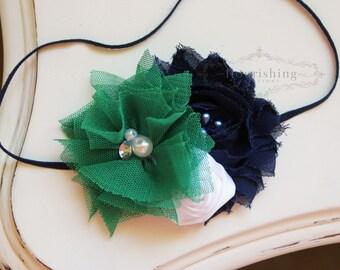Green and Navy headband, green headbands, rosette headbands, flower headbands, photography prop