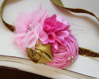 Sleeping Beauty Inspired headband, newborn headbands, pink headbands, photography prop, disney princess headband