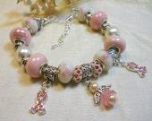 Breast Cancer Awareness Bracelet, Pink Angel European Style Bracelet, Pink Ribbon, Soft Pink Bracelet