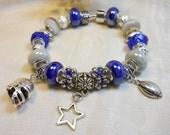 Cowboys Bracelet, European Style Blue Gray White Beaded Bracelet, Football Themed Bracelet