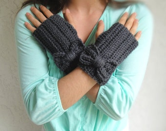 Charcoal Gray Bow Crochet Fingerless Gloves, Handmade Crocheted Women Soft Winter Accessory, Knitted Texting Gloves, Knit Hand Warmers