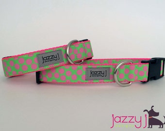 Lime Green and Hot Pink Polka Dot Dog Collar