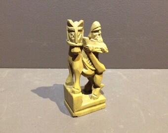 Chess Knight Stone Figurine Vintage Piece