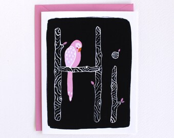 Hi Greeting Card - Pink Parrot Card - Hello Note Card