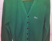 Vintage Cardigan Green Turtle Monsieur Sportswear Preppy Orlon Acrylic Knit Cardigan Sweater Small Free Shipping