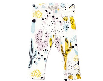 Cactus Leggings in Dusty Pink, Yellow Ochre, Blue Mint and Black on White