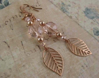 Dusty rose gold leaf dangle earrings with dusty rose pearls and crystals