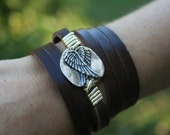 Gaurdian angel leather wrap bracelet