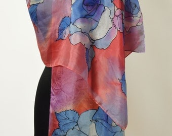 Hand painted silk scarf Shawl/Blue roses/Painting Silk Scarf/Woman Long scarf/Painting by hand/Blue red flowers/Floral silk scarf /S0104