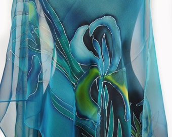 Blue Hand Painted Silk Scarf/Paintng Silk Chiffon Scarf/Painting Scarf/Painting on silk Flowers/Blue flowers Silk Scarf by Gabyga/S0001