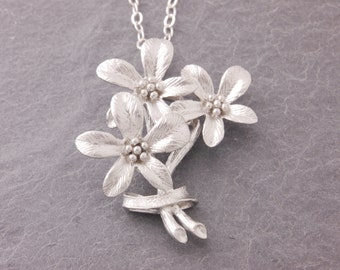 Flower Necklace, flower bouquet, floral necklace, silver flower, botanical jewelry, holiday sale, cyber monday, N6