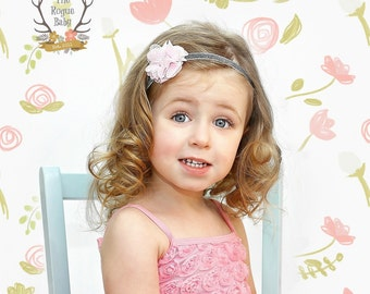 Pink & Silver Baby Girl Headband. Silver Glitter Rhinestones Pearls. Cake Smash. New Baby.