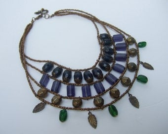 Exotic Glass Beaded Tiered Collar Necklace
