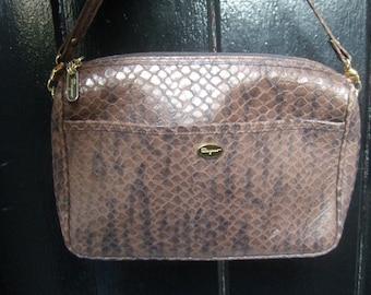 SALVATORE FERRAGAMO Embossed Brown Leather Shoulder Bag Made in Italy (Genuine)