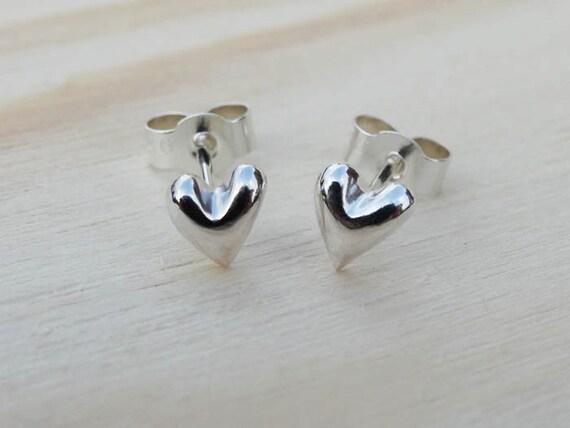 Little Solid Silver Heart Stud Earrings - Sterling Silver