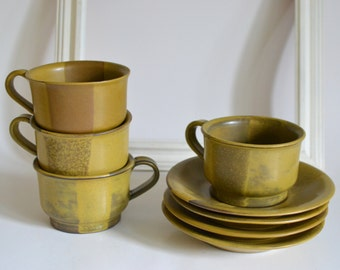 Vintage Service for 4. Mustard Yellow & Brown Cups with Saucers. Matching Mugs Set. Made in Japan.  Coffee and/or Tea