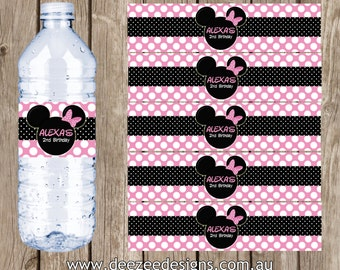 Minnie Mouse Themed Personalised Water Bottle Labels - YOU PRINT