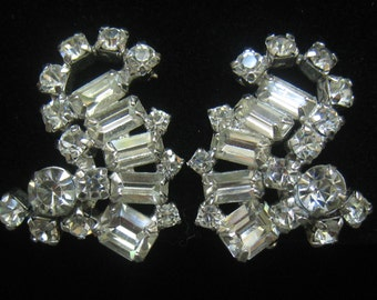 "CLEARANCE KRAMER Signed Vintage Rhinestone Earrings in Beautiful Condition with Baguettes & Rounds.  1-1/4""H x 1-1/16"" W."