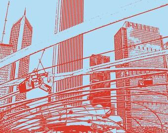 8x10 Print Pritzker Pavilion in Millenium Park with Chicago Skyline