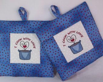 Blue Pot Holders