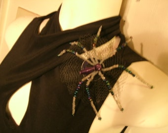 Purple, Aurora Borealis, and Clear Beaded  Spider Pin / Brooch