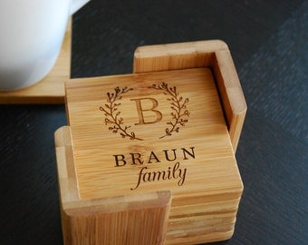 "Personalized Coaster Set 6 Custom Engraved Bamboo Coasters ""Family Monogram"" Unique Wedding Gift, Housewarming Gift"