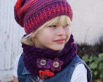 Crochet Children's Hat and Neck Warmer, Crochet Set, Pattern PDF, Hat Crochet Pattern ,Pattern No. 78