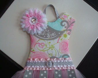 Tutu Hair Bow Holder Pink Aqua Gray Grey Floral Bird Polka Dot Nursery Baby Shower Gift