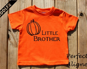 Little Brother Halloween Pumpkin Unisex Infant and Toddler T-shirt - Baby Boys or Girls