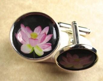 Pink Lotus Cufflinks