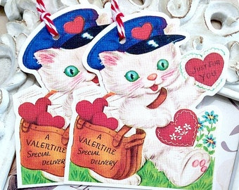 Mailman Cat Valentine Gift Tags (6) Valentine Treat Tag-Valentine Favor Tag-Cat Gift Tag-Classroom Valentine-Tags for Valentines-Kids Tags