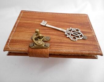 Key pendant handmade mini leather journal notebook sketchbook