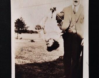 Original Antique Photograph Father & Daughter Acrobatics