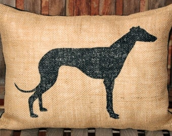 Hand Painted Greyhound dog on Burlap pillow cover