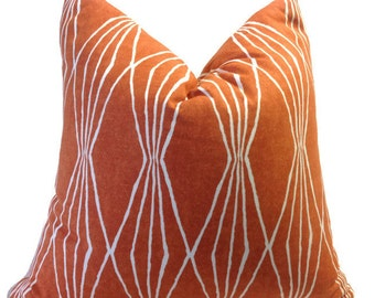 Orange Pillow, Decorative throw pillow cover Orange Pillow  Chair Pillows  Printed Fabric on both sides