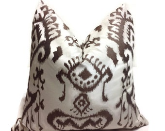 Brown Pillow, Brown ikat Pillow, Decorative Throw pillow Cover, Brown Pillow, Lumbar Pillow,Printed Fabric on both sides