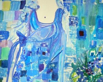 Lady in Blue, Watercolor,  Mystery Lady, Blue Sari Watercolor, 22 x 29, unframed, Kathleen Leasure, Fromglentoglen