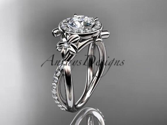 platinum diamond leaf and vine wedding ring, engagement ring ADLR89