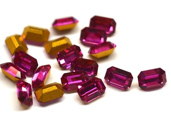 18 Swarovski 6x4mm Fuchsia Octagons-loose rhinestones-bulk rhinestones-loose swarovski-wholesale rhinestones-jewelry findings