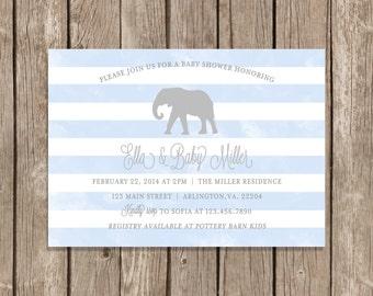 Boy Baby Shower Invitation, it's a boy, blue, watercolor, elephant, safari, animals