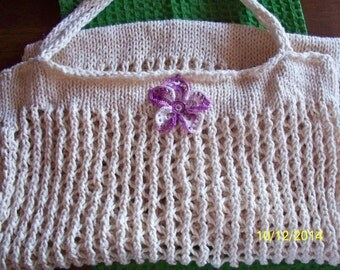 Knitted Tote Market Bag in Cream with a Crocheted Purple Flower Accent