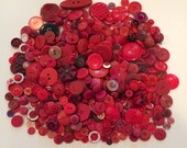 Vintage Lot of 1 Pound Of Mixed Red Buttons